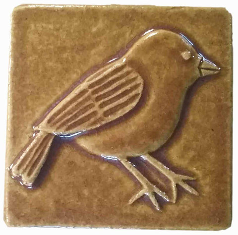 Chickadee 3x3 Handmade Ceramic Tile - Honey Glaze