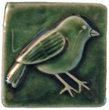 Chickadee 3x3 Handmade Ceramic Tile - Leaf Green Glaze