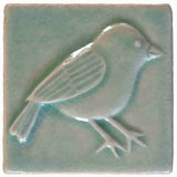 Chickadee 3x3 Handmade Ceramic Tile - Pacific Blue Glaze