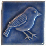 Chickadee 3x3 Handmade Ceramic Tile - Watercolor Blue Glaze