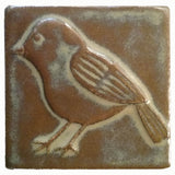 "Chickadee facing left 4""x4"" Ceramic Handmade Tile - Autumn Glaze"