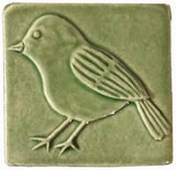 "Chickadee facing left 4""x4"" Ceramic Handmade Tile - Spearmint Glaze"