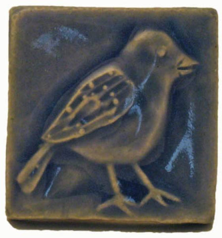 "Chickadee 2""x2"" Ceramic Handmade Tile - Watercolor Blue"
