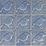 Chickadee 3x3 Handmade Ceramic Tiles - Watercolor Blue Glaze Grouping