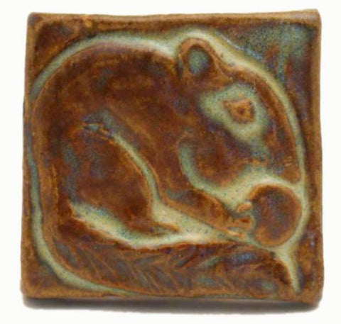 "Chipmunk 2""x2"" Ceramic Handmade Tile - Autumn Glaze"