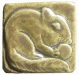 "Chipmunk 2""x2"" Ceramic Handmade Tile - Honey Glaze"