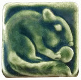 "Chipmunk 2""x2"" Ceramic Handmade Tile - Leaf Green Glaze"