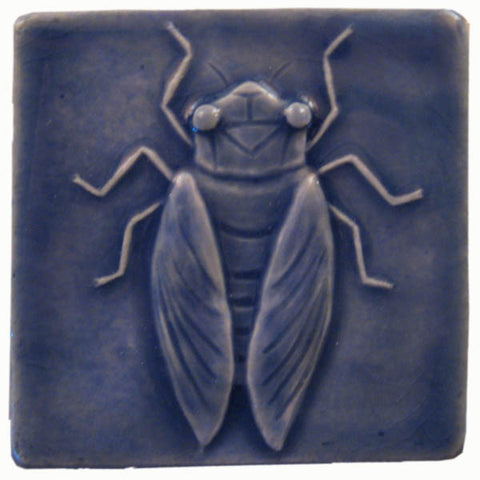 "Cicada 4""x4"" Ceramic Handmade Tile - Watercolor Blue Glaze"