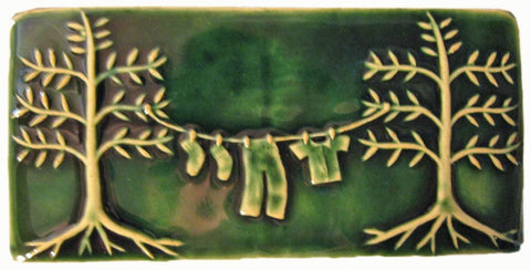 "Clothesline 4""x8"" Ceramic Handmade Tile - Leaf Green Glaze"