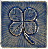 "Clover 4""x4"" Ceramic Handmade Tile -Watercolor Blue Glaze"