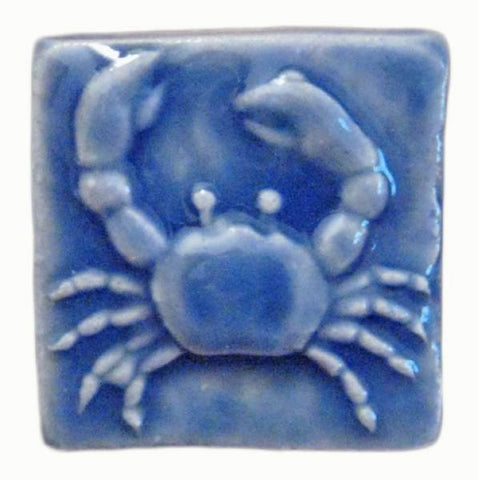 "Crab 2""x2"" Ceramic Handmade Tile - Watercolor Blue Glaze"