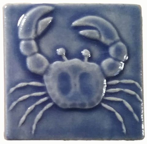"Crab 3""x3"" Ceramic Handmade Tile - watercolor blue glaze"