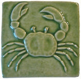"Crab 4""x4"" Ceramic Handmade Tile - Spearmint Glaze"