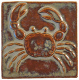 "Crab 4""x4"" Ceramic Handmade Tile - Autumn Glaze"