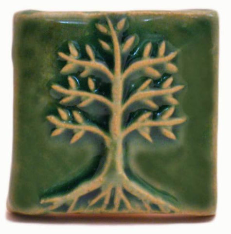 "Cypress 2""x2"" Ceramic Handmade Tile - Leaf Green Glaze"