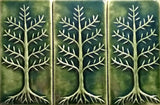"Cypress 3""x6"" Ceramic Handmade Tile - Leaf Green Glaze Grouping"