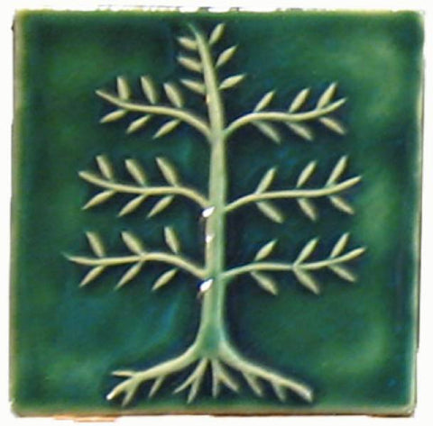 "Cypress Tree 4""x4"" Ceramic Handmade Tile - Leaf Green Glaze"