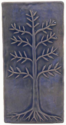 "Cypress 4""x8"" Ceramic Handmade Tile - Watercolor Blue Glaze"