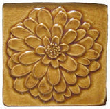 "Dahlia 4""x4"" Ceramic Handmade Tile - Honey Glaze"
