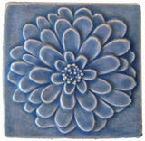 "Dahlia 4""x4"" Ceramic Handmade Tile - Watercolor Blue Glaze"