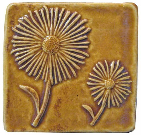 "Daisies 4""x4"" Ceramic Handmade Tile - Honey Glaze"
