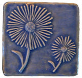 "Daisies 4""x4"" Ceramic Handmade Tile - Watercolor Blue Glaze"