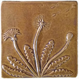 "Dandelion 6""x6"" Ceramic Handmade Tile - Honey Glaze"