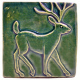 "Deer 4""x4"" Ceramic Handmade Tile - Leaf Green Glaze"