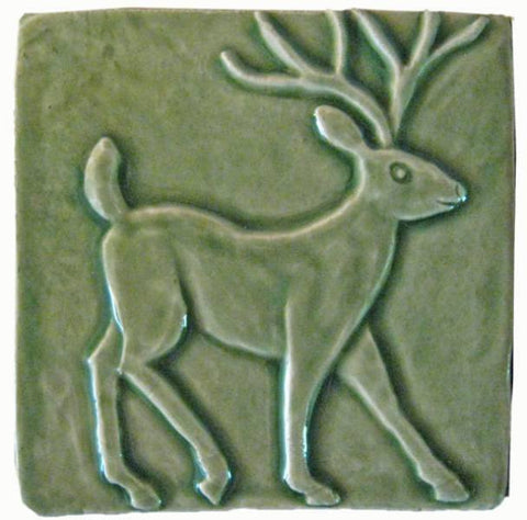 "Deer 4""x4"" Ceramic Handmade Tile - Spearmint Glaze"