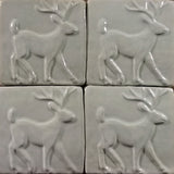 "Deer 4""x4"" Ceramic Handmade Tile - White Glaze Grouping"