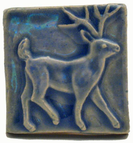 "Deer 2""x2"" Ceramic Handmade Tile - Watercolor Blue Glaze"