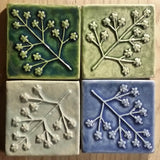 "Delicate Floret 4""x4"" Ceramic Handmade Tile - Multicolored grouping"
