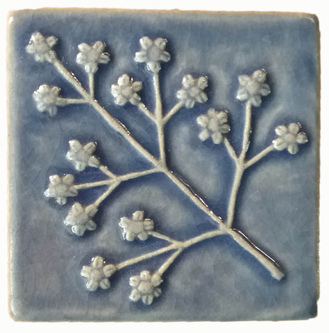 "Delicate Floret 4""x4"" Ceramic Handmade Tile - watercolor Blue Glaze"