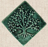 Diagonal Tree Of Life 4x4 - Leaf Green Glaze