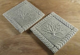 "6""x6"" Tree of Life Ceramic Handmade Tiles With 1"" Border - Gray Glaze Grouping"