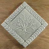 "6""x6"" Tree of Life Ceramic Handmade Tiles With 1"" Border - Gray Glaze"