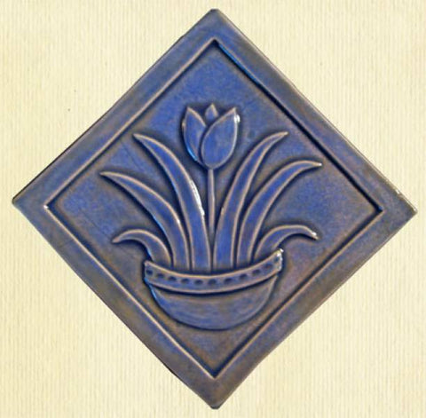 "Diagonal Tulip 6""x6"" Ceramic Handmade Tile - Watercolor Blue Glaze"