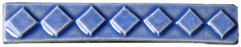 "Diamonds 1""x6"" Border Ceramic Handmade Tile - Watercolor Blue Glaze"