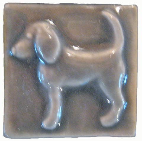 "Dog (facing Left) 2""x2"" Ceramic Handmade Tile - Gray Glaze"