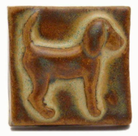 "Dog (facing Right) 2""x2"" Ceramic Handmade Tile - Autumn Glaze"