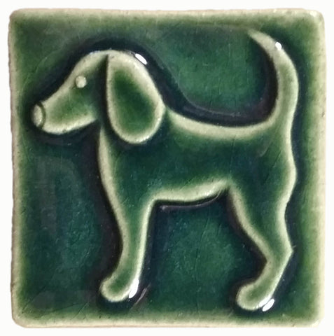 "Dog Facing left 3""x3"" Ceramic Handmade Tile - leaf green glaze"