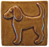 "Dog 2 (facing Left) 4""x4"" Ceramic Handmade Tile - Honey Glaze"