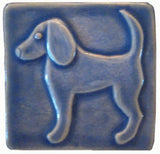 "Dog 2 (facing Left) 4""x4"" Ceramic Handmade Tile - Watercolor Blue Glaze"