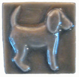"Dog (facing Right) 2""x2"" Ceramic Handmade Tile - Gray Glaze"