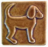 "Dog Facing right 3""x3"" Ceramic Handmade Tile - honey glaze"