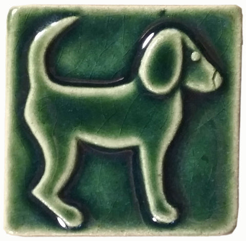 "Dog Facing right 3""x3"" Ceramic Handmade Tile - leaf green glaze"