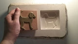 "Dog Facing right 3""x3"" Ceramic Handmade Tile - freshly made mold"