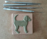 "Dog Facing right 3""x3"" Ceramic Handmade Tile - in progress photo"