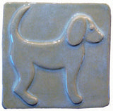 "Dog 1 (facing Right) 4""x4"" Ceramic Handmade Tile - Celadon Glaze"