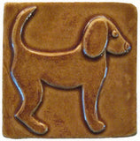 "Dog 1 (facing Right) 4""x4"" Ceramic Handmade Tile - Honey Glaze"